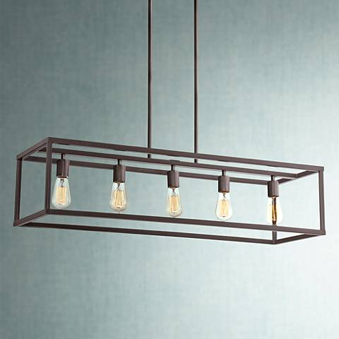 "Quoizel New Harbor 38"" Wide Western Bronze Island Pendant"
