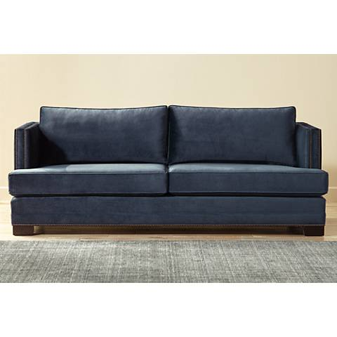 "Melbin Eclipse Blue 94"" Wide Fabric Sofa"