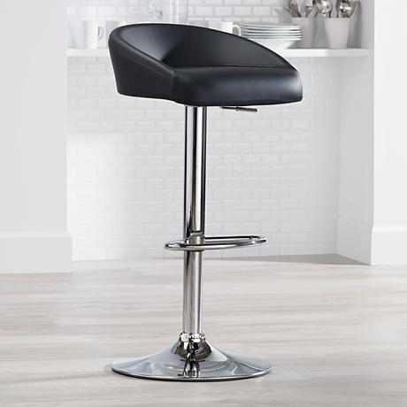 Fargo Black Faux Leather Adjustable Swivel Barstool