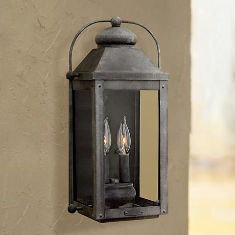 "Anchorage 9 1/4""W Aged Zinc Two Candle Outdoor Wall Light"