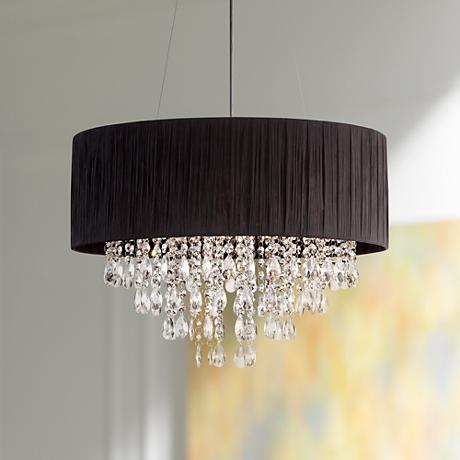 "Possini Euro Jolie 20"" Wide Black Crystal Pendant Light"