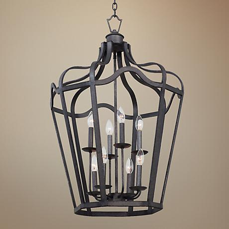 "Livingston Charcoal 21 3/4"" Wide 8-Light Lantern Pendant"