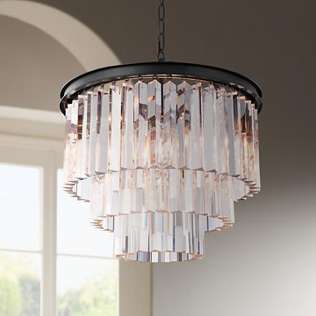 "Urban Classic Mocha Brown 20""W Crystal Pendant Chandelier"
