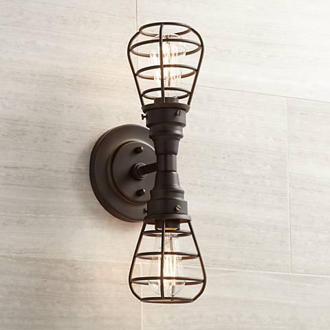 "Bendlin Industrial 18""H 2-Light Oil-Rubbed Bronze Sconce"