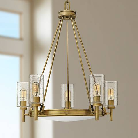 "Hinkley Collier 27"" Wide Heritage Brass 5-Light Pendant"