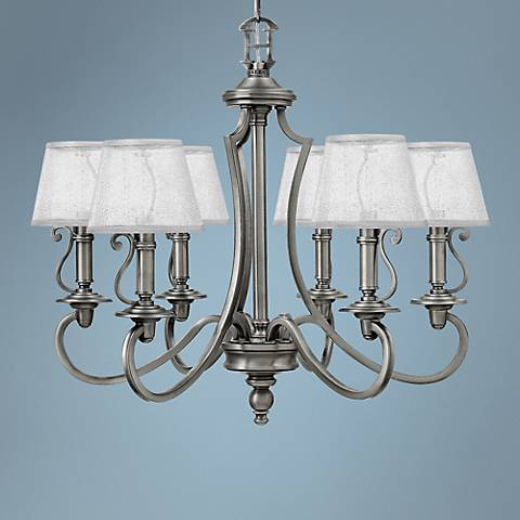 "Hinkley Plymouth 27 3/4""W Antique Nickel 6-Light Chandelier"