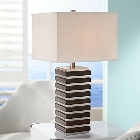 Lite Source Dante Dark Walnut Metal Table Lamp