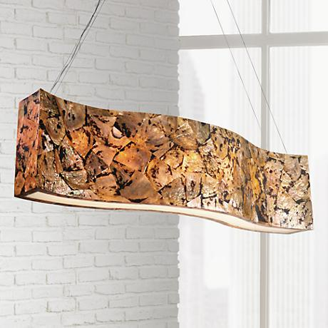"Varaluz Big 48""W Chocolate Tiger Shell Linear Pendant"