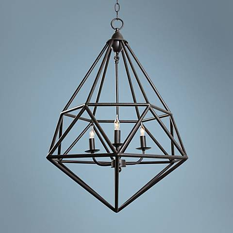 "Varaluz Facet 18"" Wide Forged Iron Pendant Light"