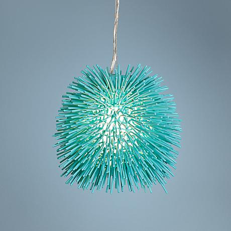 "Varaluz Urchin 9"" Wide Aqua Velvet Mini Pendant Light"