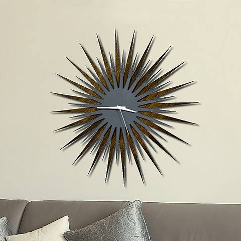 "Walnut Gray and White Atomic Starburst 23"" Round Wall Clock"