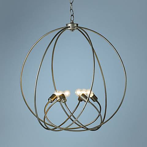 "Hubbardton Forge Orb 22 1/2""W Burnished Steel Chandelier"