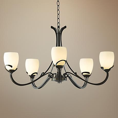 "Aubrey 33 3/4"" Wide Dark Smoke Chandelier w/ Opal Glass"