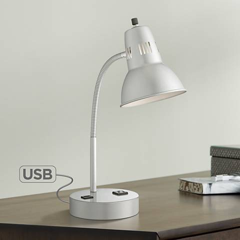 Lite Source Pagan Outlet and USB Port Silver Desk Lamp