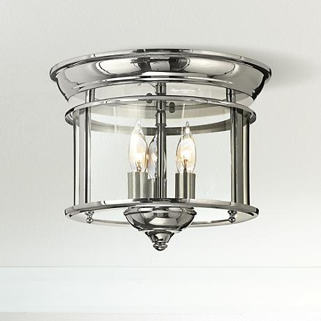 "Hinkley Gentry 11 1/2"" Wide Polished Nickel Ceiling Light"