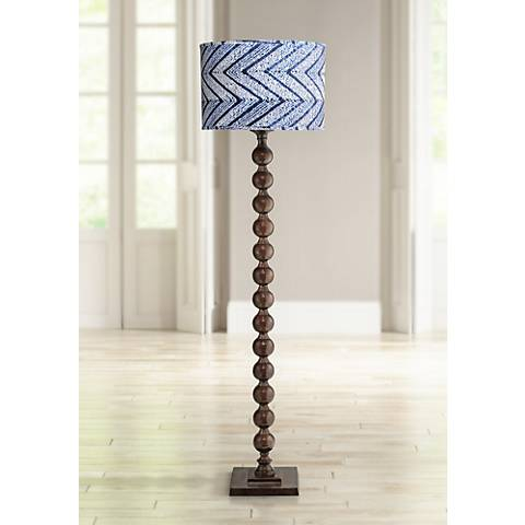 Jamie Young Luna Indigo Batik Chocolate Metal Floor Lamp