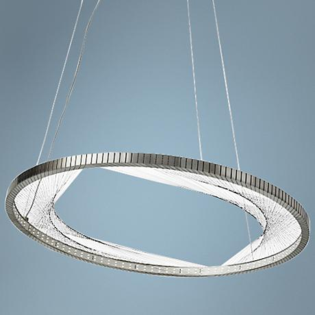 "LBL Interlace 30"" Wide Satin Nickel Ring LED Pendant"