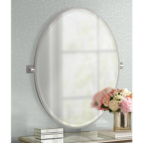 "Gatco Elevate Satin Nickel 28 1/4"" x 33"" Oval Mirror"