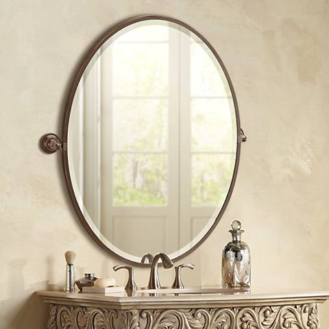 "Gatco Tiara Bronze 28 3/4"" x 33"" Large Oval Wall Mirror"