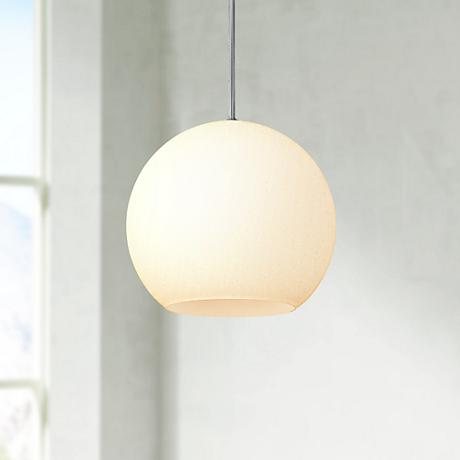 "Nitrogen 14"" Wide White Opal Glass Globe Pendant Light"