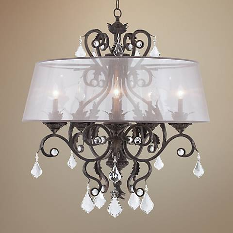 "Kathy Ireland Ramas de Luces 34""W Bronze Shaded Chandelier"