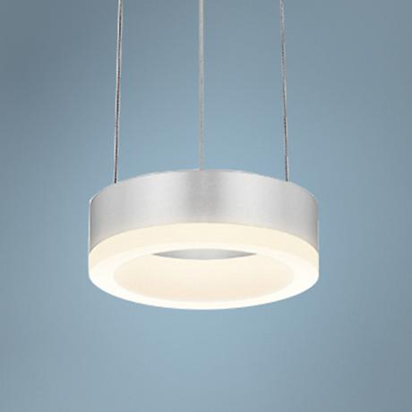 "Corona Ring 6""W Satin Aluminum LED Mini Pendant"