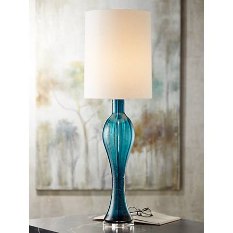 Possini Euro Tyra Blue Fluted Art Glass Console Table Lamp