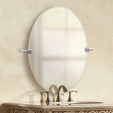 "Gatco Bleu Chrome 23 1/2"" x 26 1/2"" Oval Vanity Mirror"