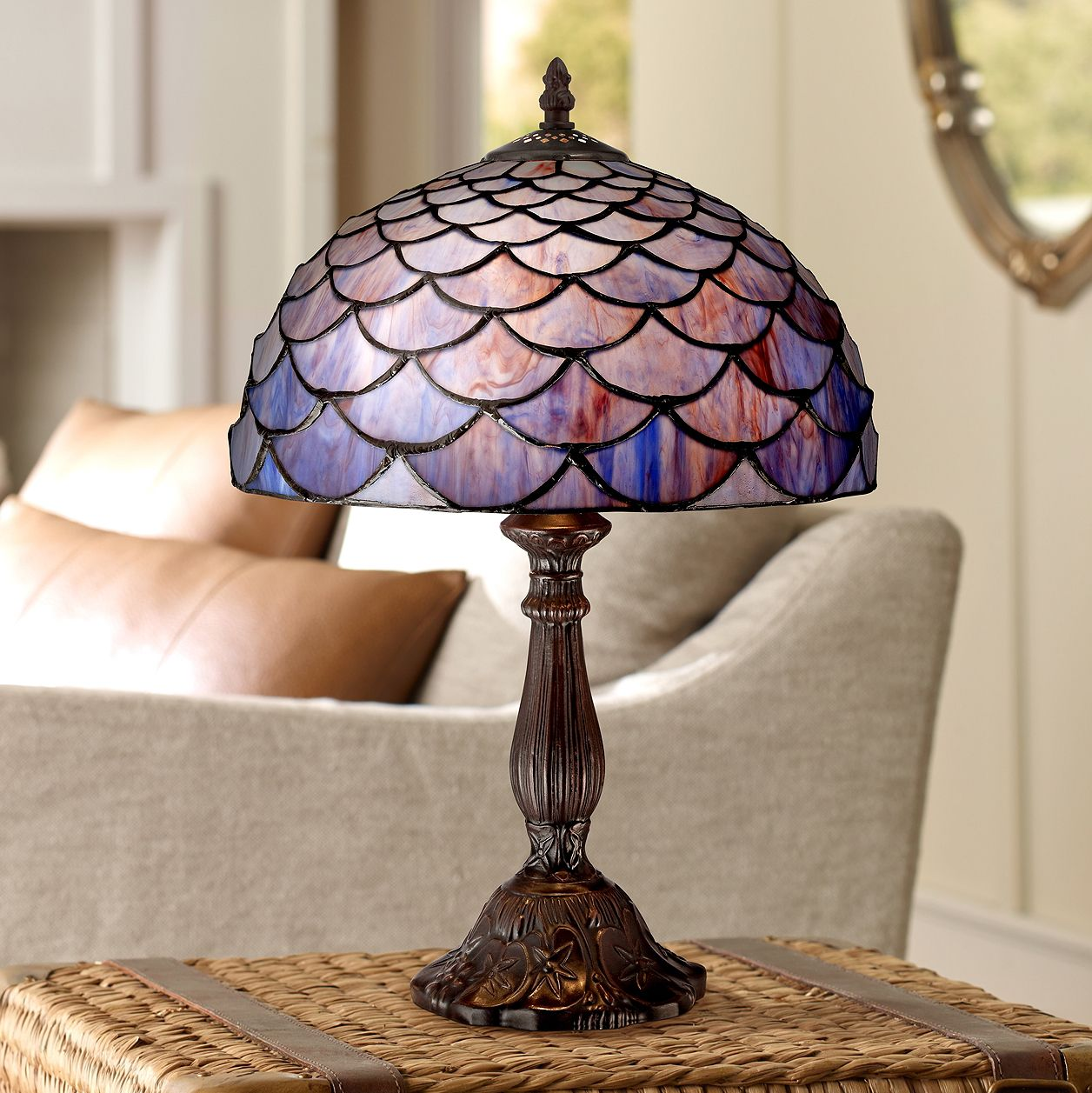 Blue Shell Tiffany Style Accent Table Lamp