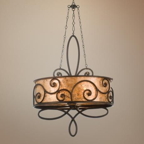 Windsor Collection Stained Mica 4-Light Oval Chandelier