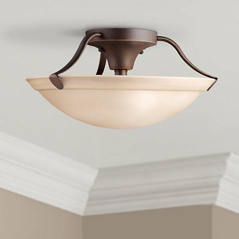 "Kichler Umber Glass and Bronze 15"" Wide Ceiling Light"