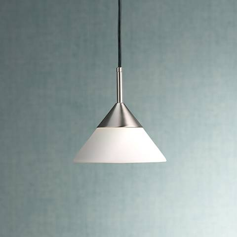 "George Kovacs 7 1/2"" Wide Nickel Cone Shaped Mini Pendant"