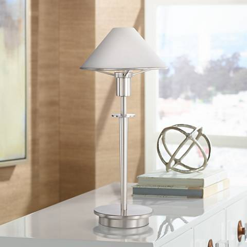 Satin White Glass Satin Nickel Mini Holtkoetter Desk Lamp