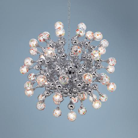 Centauri Chrome Halogen Glass Globe Pendant Chandelier