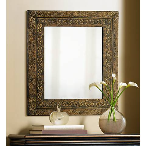 "Uttermost Jackson Rustic Bronzed 34"" High Wall Mirror"