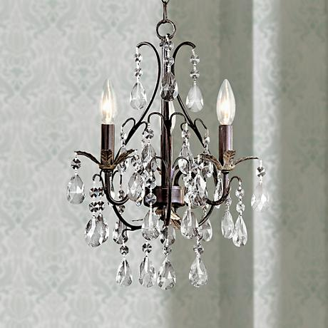 Castlewood walnut silver finish 3 light mini chandelier - Small crystal chandelier for bathroom ...