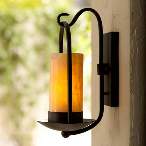 Candle Wall Light: Onyx Stone Faux Candle 15