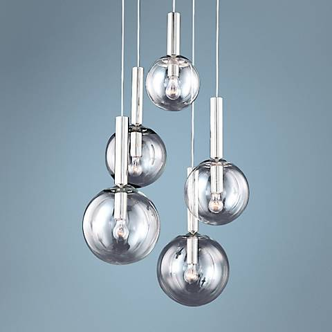 "Sonneman Bubbles 21""Wide Polished Nickel Pendant"