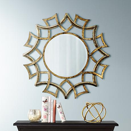 "Uttermost  Golden Voyage Round 40"" Wide Wall Mirror"