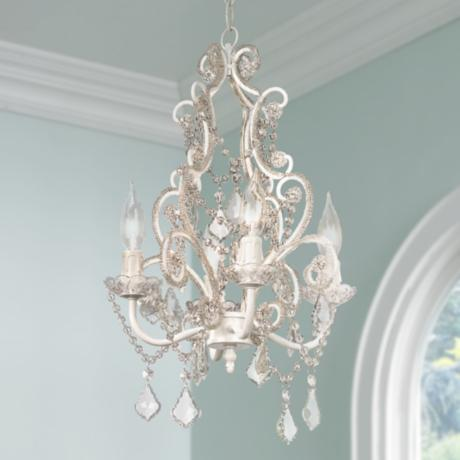 leila white clear swag plug in chandelier 85013. Black Bedroom Furniture Sets. Home Design Ideas