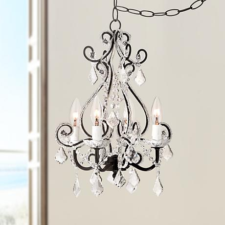 Leila Black Clear Swag Plug-in Chandelier