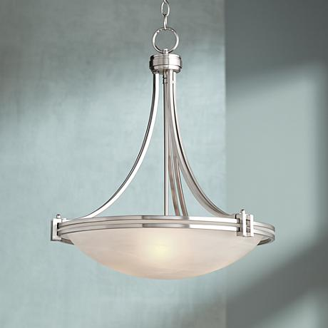 "Possini Euro Design Deco Nickel 20"" Wide Pendant Light"