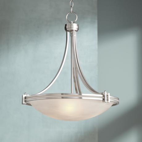 "Possini Euro Deco Nickel 20"" Wide Pendant Light"
