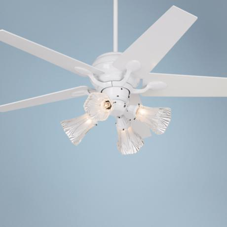 "52"" Casa Optima White Tapered Blades Ceiling Fan with Light"