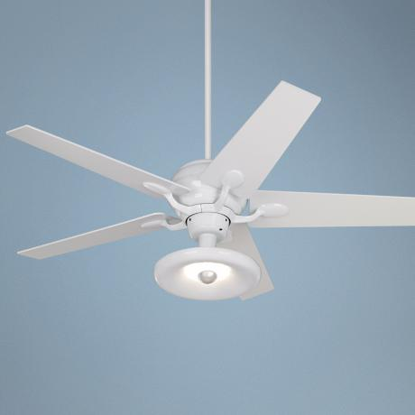 "52"" Casa Optima Tapered White Blades Ceiling Fan with Light"