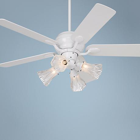 "52"" Casa Optima White Square Blades Ceiling Fan with Light"