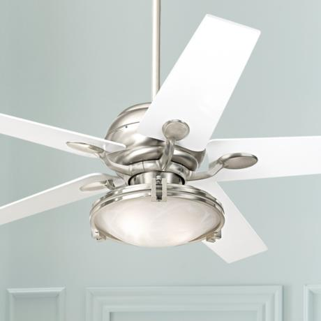 "52"" Casa Optima Brushed Steel White Blades Ceiling Fan"