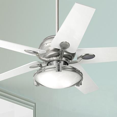"52"" Casa Optima Brushed Steel Alabaster Glass Ceiling Fan"