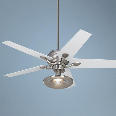 "52"" Casa Optima Brushed Steel Ceiling Fan with Light Kit"
