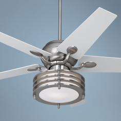 "52"" Casa Optima Steel and Multi-Ring Light Ceiling Fan"